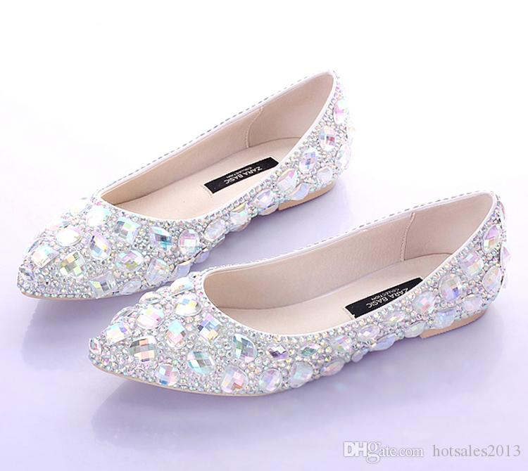 Плоские каблуки с острым носком AB Crystal Wedding Shoes Silver Dancing Flats Performance Show Женская обувь для девочек Bridal Bridesmaid Shoes