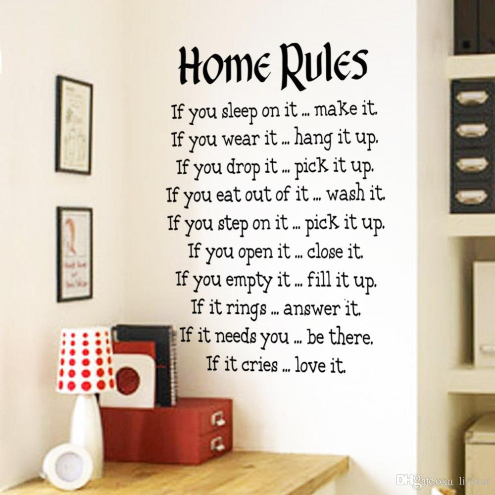 Home rules wall sticker quotes home decor vinyl art decals for Room decor ideas quotes