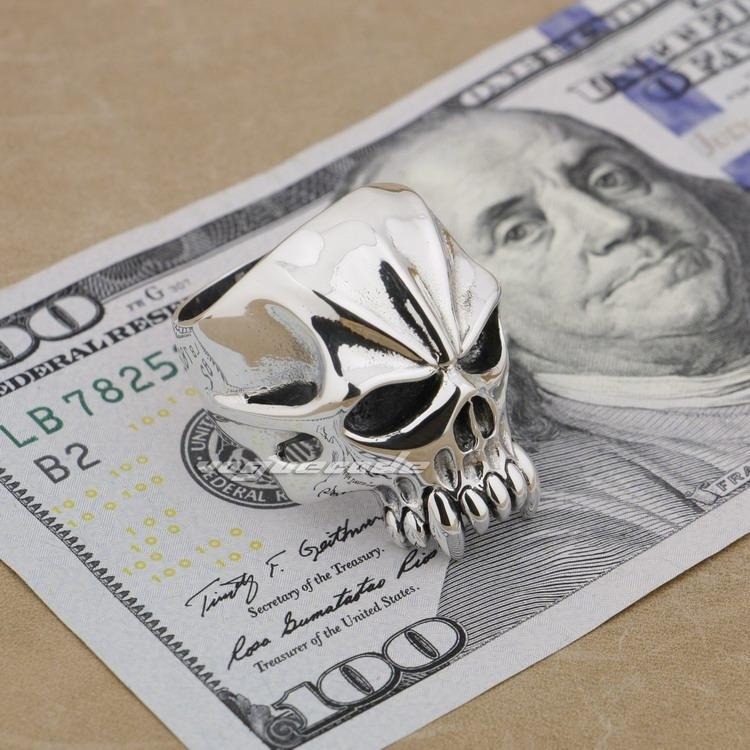 925 Sterling Silver Huge & Heavy Skull Mens Biker Ring 9M004 US Size 8~14
