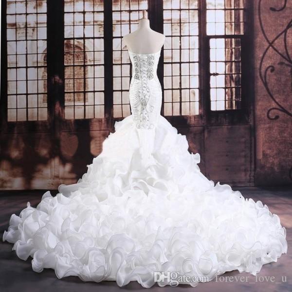 Русалка свадебные платья без бретелек оборками органза свадебные платья роскошные кристаллы бисером зашнуровать часовня поезд корсет обратно реальный образец