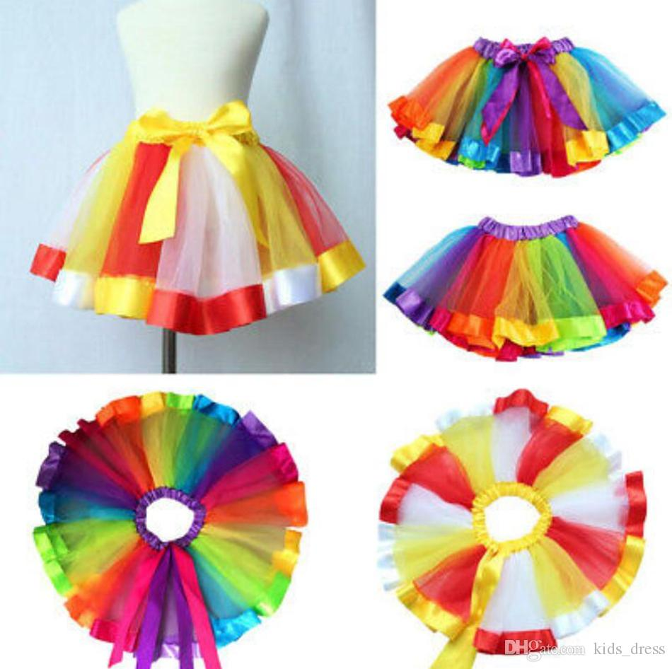 19d39fbe8066 2019 Children Rainbow Tutu Skirt Kids Newborn Lace Princess Dresses ...