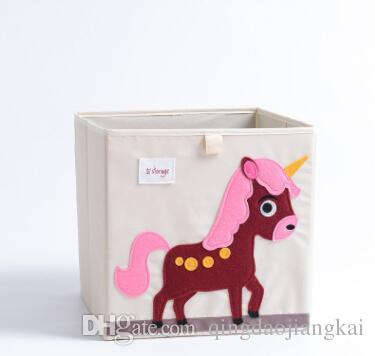 HOT 3D Embroidery Cartoon Animal Folding Storage Box Large Laundry Basket Sundries Children Clothes Toys Book Storage organizer