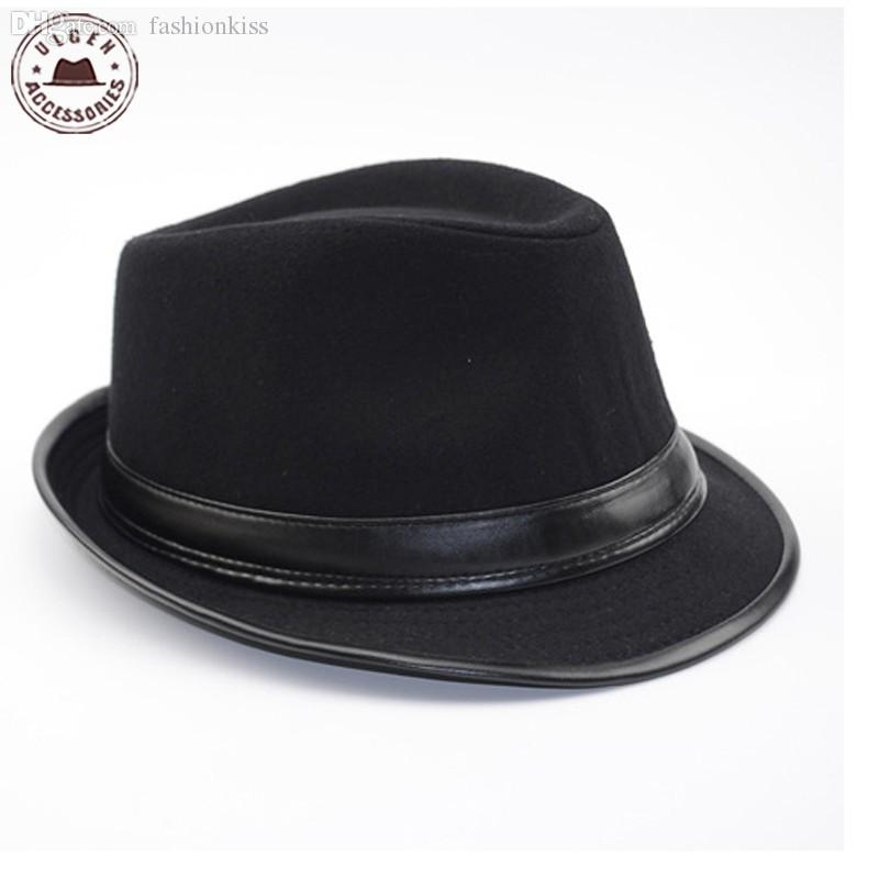 d83dace396bdc 2019 Wholesale Cool Men S Fedora Hat Summer Jazz Fedoras Hat For Men  Classic Dancing Winter Wool Caps Gentleman Black Fedora From Fashionkiss