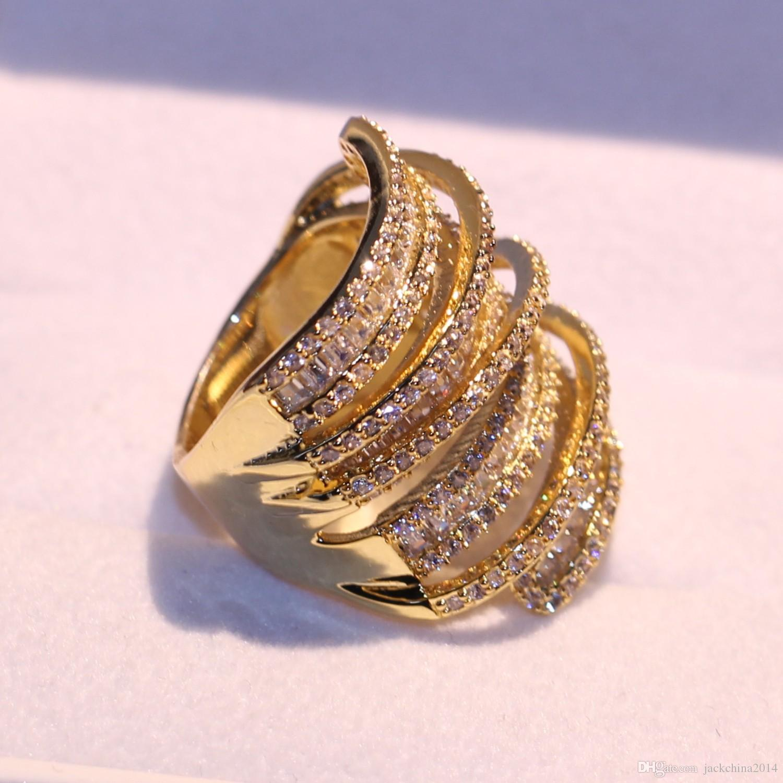 Victoria Sparkling Luxury Schmuck 925 Sterling Silber Gelbgold gefüllt Prinzessin Cut White Topaz CZ Diamant Party Frauen Ehering Ring