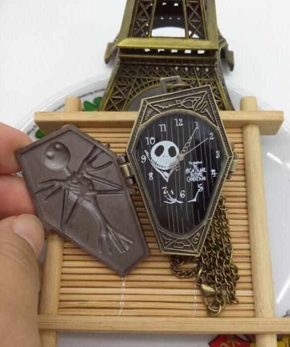 Christmas fright night Cartoon bones pocket watch classicc nightmare before Christmas Vintage bronze quartz Necklace watch