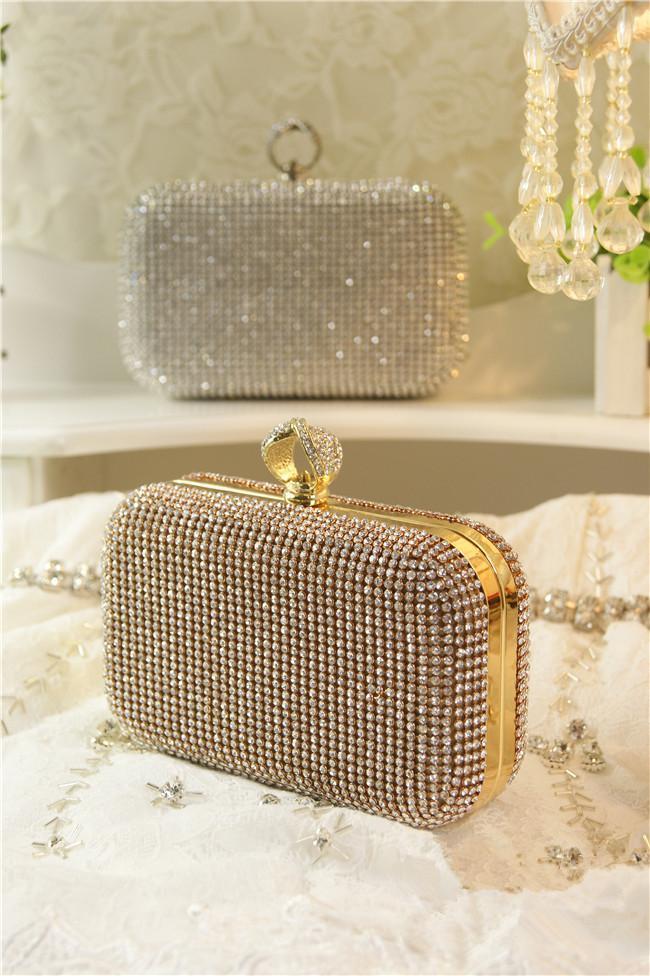 Wedding Bridal Party Prom Gold Silver Crystal Rhinestone Evening Clutch Bag Handbag Ring Knuckle Beaded Envelope Purse Makeup Kit Hard Box