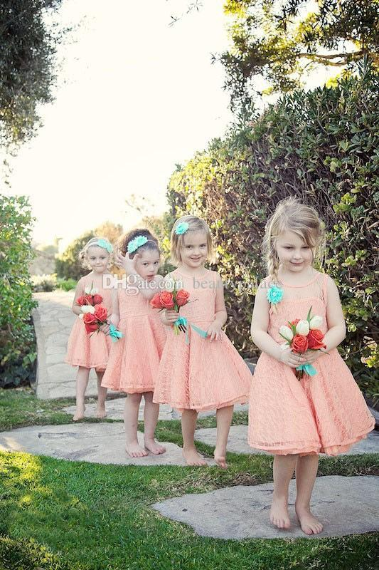Mini Short Lace Flower Girl Dresses Beautiful Princess Pegeant Party Gowns for Weddings Sheer Neck Vestido Daminha Toddler Frock