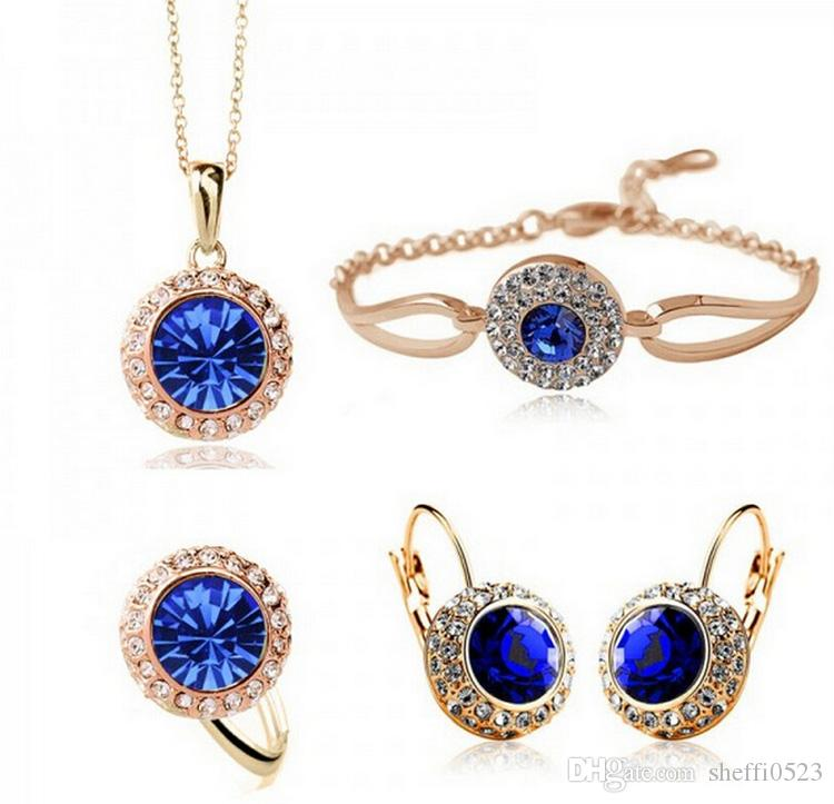 Moon River Necklace Earrings Bracelet Sets Conjuntos de joyería coreana de cristal de alta calidad semi-redonda de Austria 1075