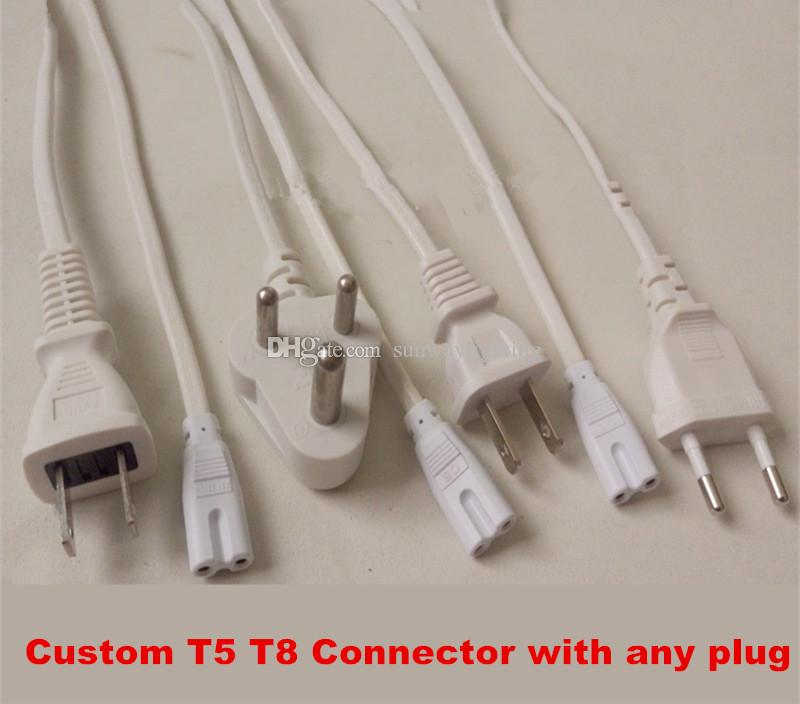 T8 T5 connector double end 2ft 3ft 4ft 5ft 6ft power cords with switch US EU AU Plug for integrated led tube lights