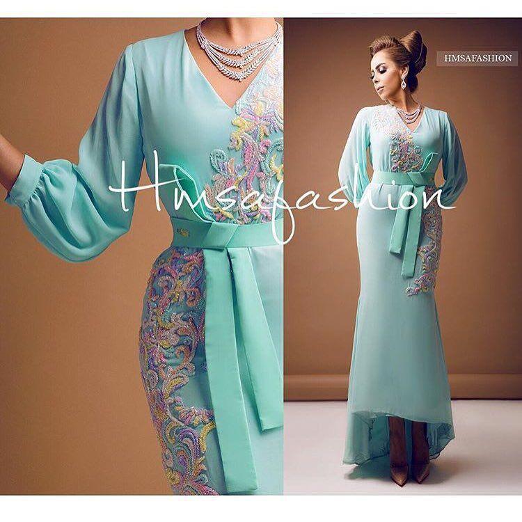 Mint Green Пром платья 2016 с бисером Вышивка Длинные рукава оболочки Привет Lo V шеи шифон вечернее платье
