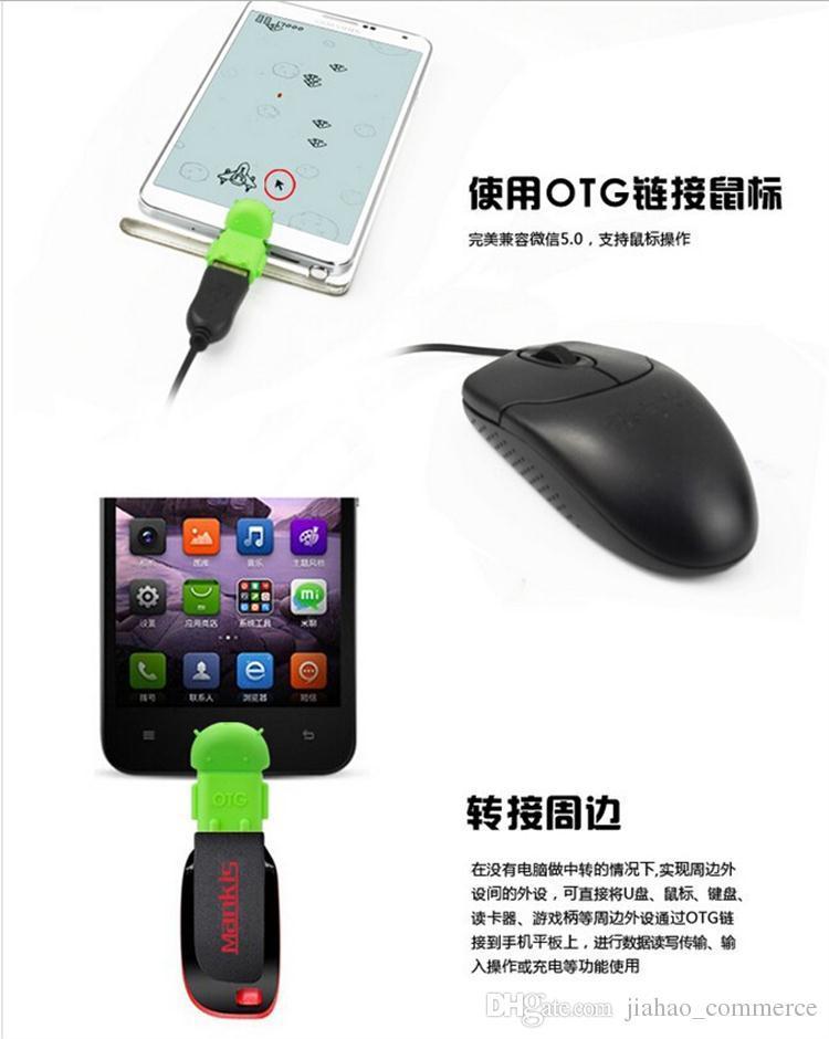 Micro USB a USB OTG Forma adattatore Robot Android adattatore OTG smart phone, telefono cellulare Connetti a USB Flash / mouse / tastiera universale SY