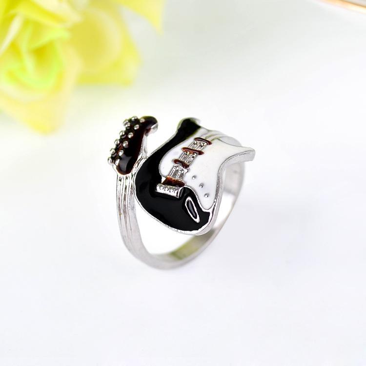 Mulheres homens anel de jóias estilo punk brilhante colorido vitrificado anel de amantes da guitarra anel casais anéis anéis de dedo bague moda jewellry melhor presente