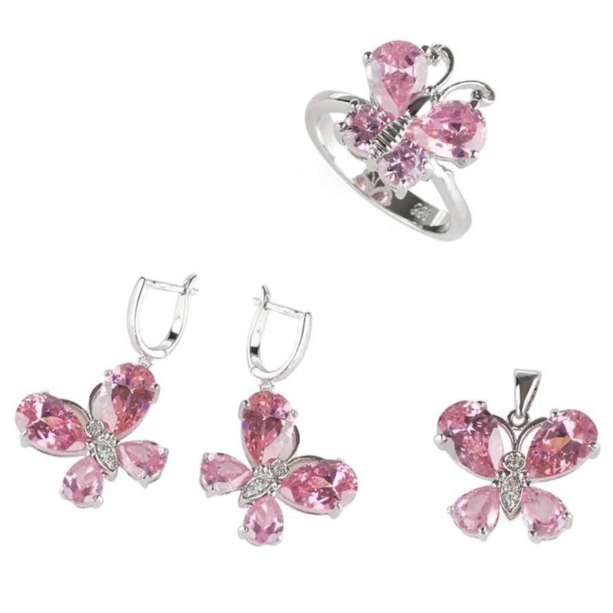 Neuheiten edel großzügig mnsz # 7 8 9 mode rosa zirkonia heißer kupfer rhodiniert casual herz set ring / ohrring / anhänger