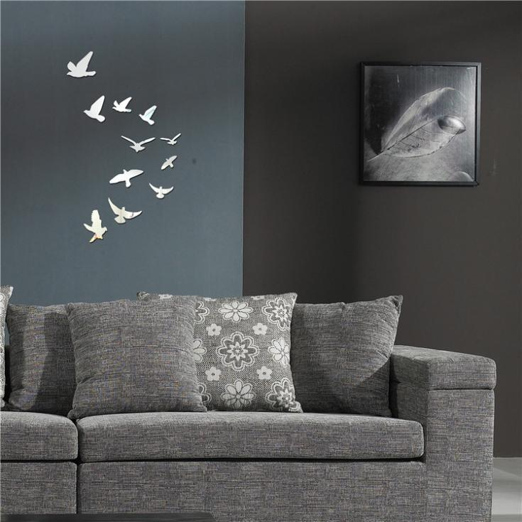 Wholesale-Acrylic Birds Mirror Effect Mural Wall Sticker Removable Modern Room Decoration