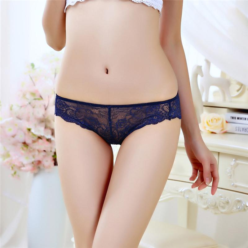 Sexy Underwear Women Briefs Floral Lace Nylon Women Underwear Thongs Ladies Mesh BriefsTransparent Butt Panties Femme Lingerie