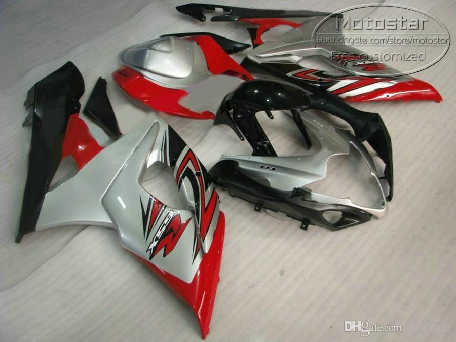 Высокое качество обтекатель комплект для SUZUKI GSXR1000 2005 2006 серебряный красный черный bodykits K5 K6 05 06 GSX-R1000 обтекатели набор QF61