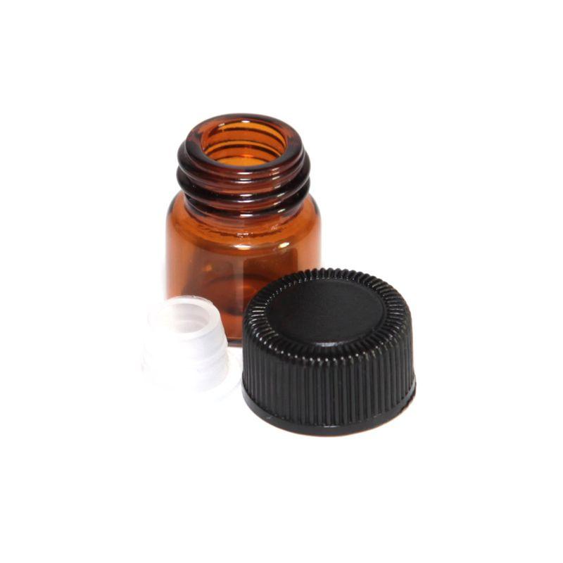 / 1ml 1/4 DRAM Amber in vetro Amber Oil Essential Bottle Bottle Profumo Tubi Bottiglia con tappi e tappi