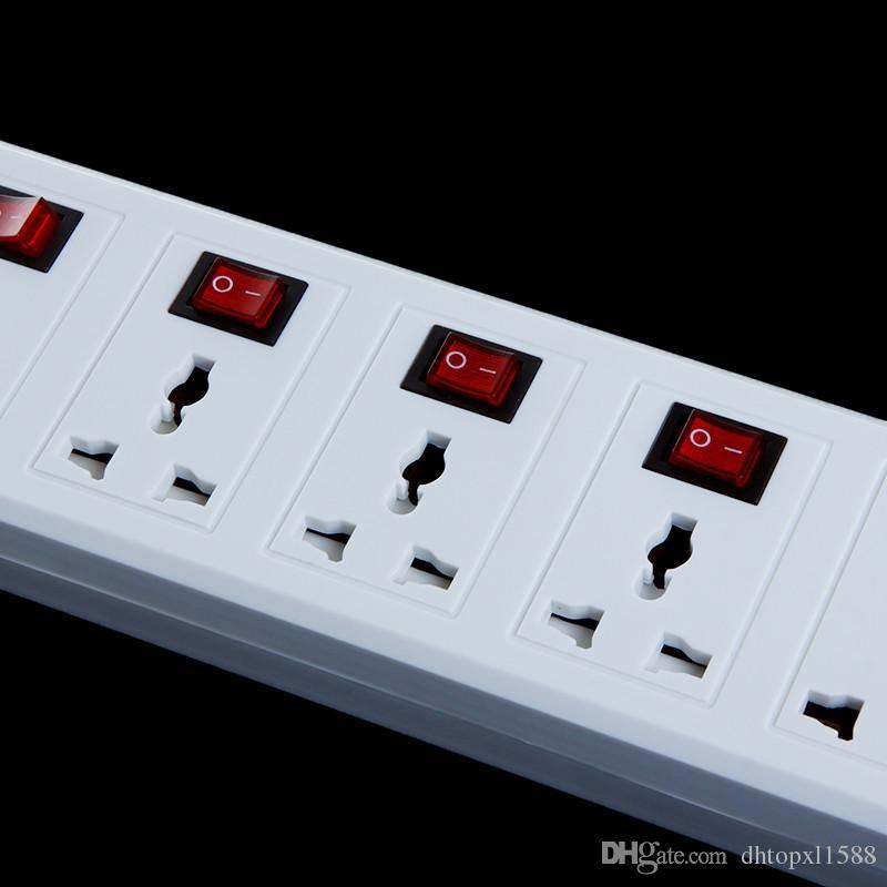 Hot 6 Universal Tomada 2 Porta USB Carregador Power Strip Surge Protector Disjuntor 2500 W Frete grátis