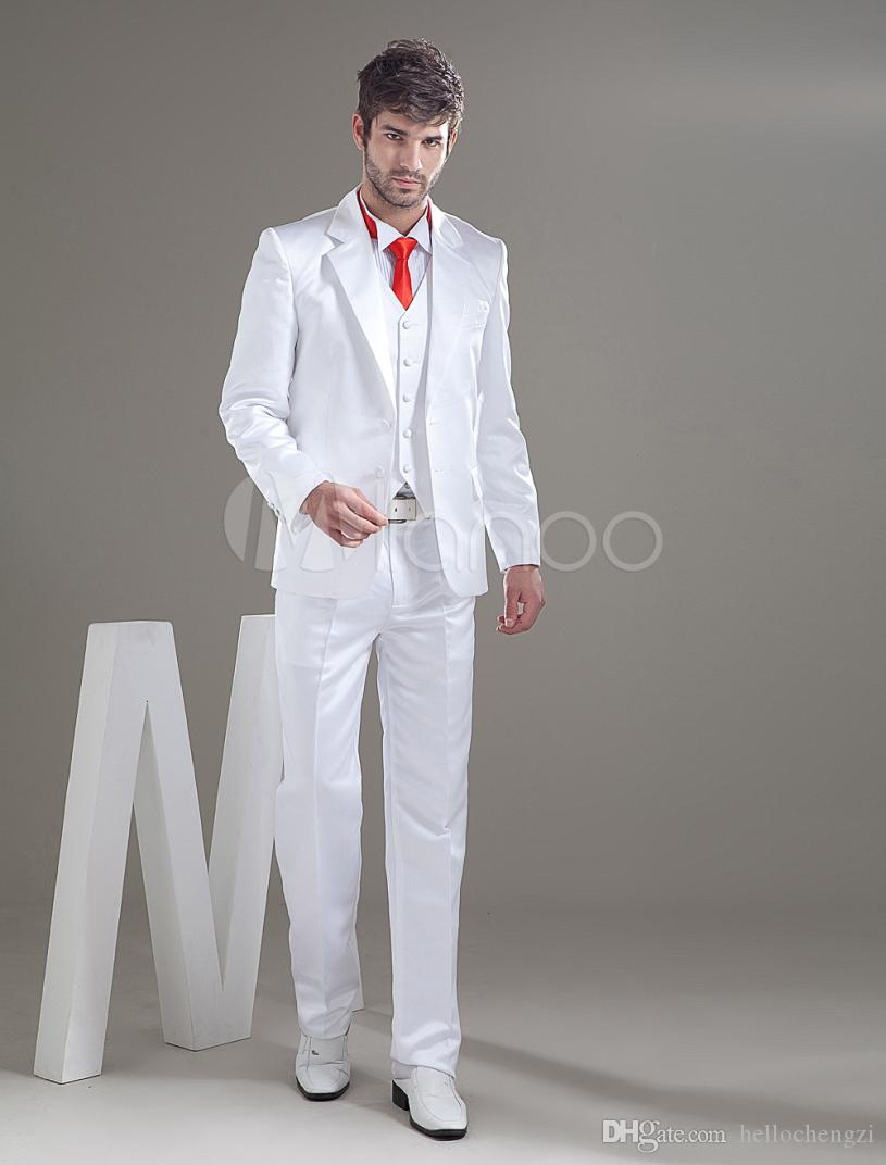 2015 Custom Made Handsome White Slim Fit Men Wedding Suits Groom ...