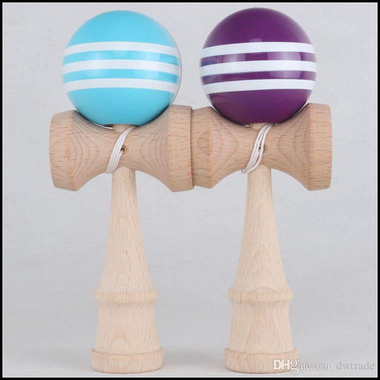18.5CM big size Kendama Ball Japanese Traditional Wood Game Toy Education Gift stripe Colors novelty toys gift J071507#