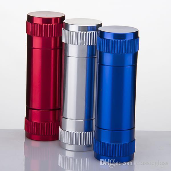 Pequeño Aluminio Polen Prensa Compresor Hierba seca Prensatelas Metal Pipe Tabaco Especias Prensador de color rojo Accesorios para fumar