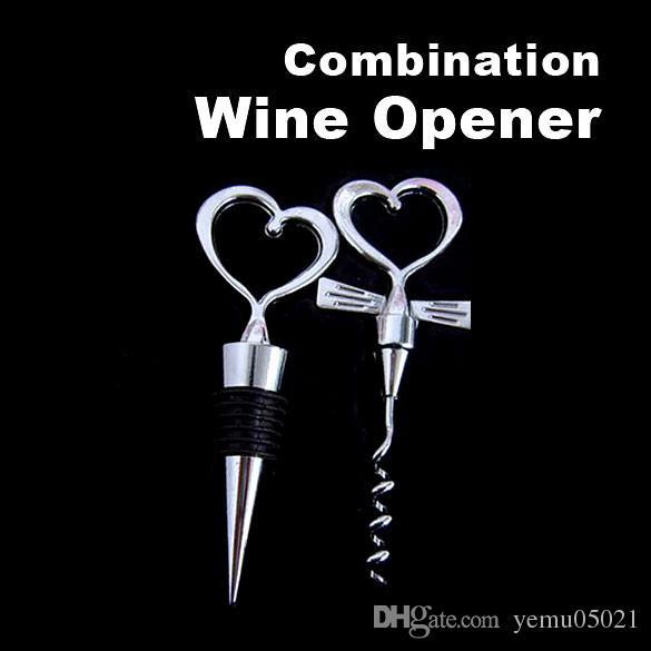High Quality Love Heart Corkscrew Wine Bottle Opener + Wine Stopper Wedding Gift Favors Bottle Opener Set best for you