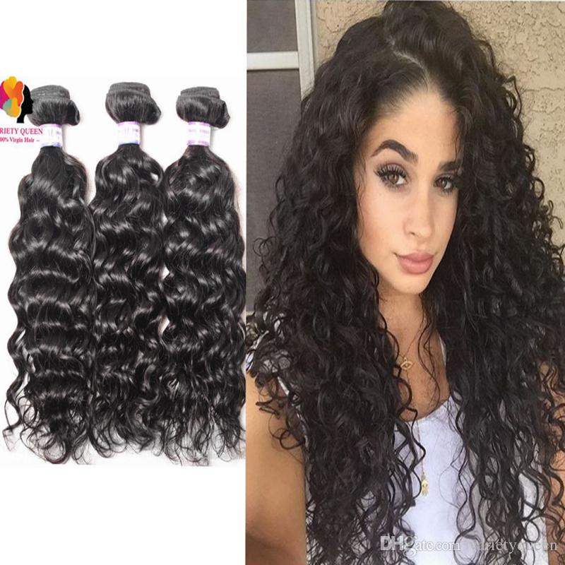 8a Brazilian Water Wave Bundles With Closure Curly 100 Virgin Remy