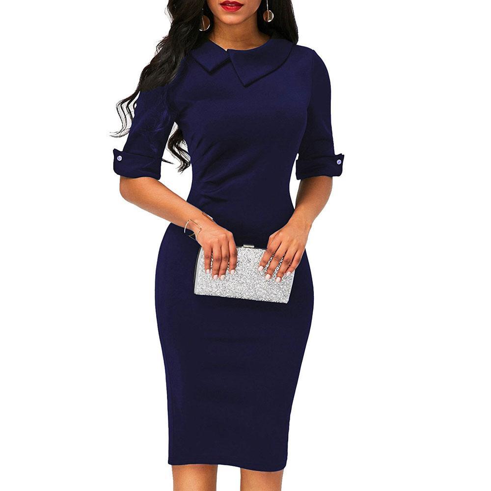 Женская мода с половиной рукавом Бизнес-офис Midi Dress Womens Solid Color Work Dresses
