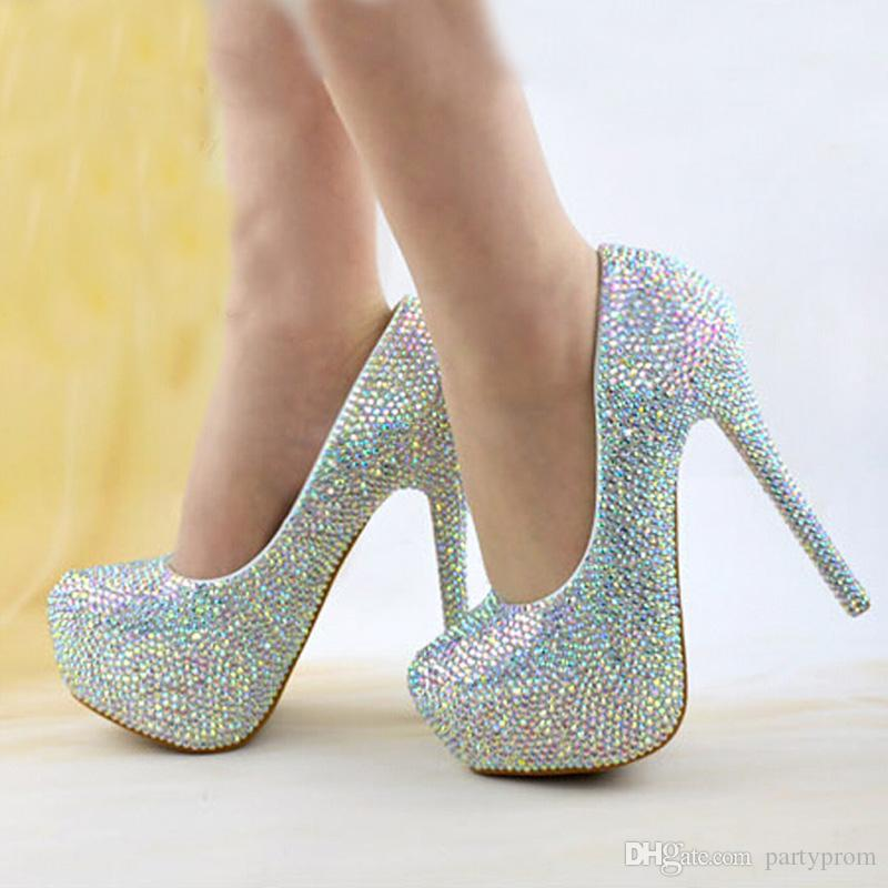 Size 34-43 Wedding Bridal Shoes AB Crystal Bling Bling Cinderella Shoes Amazing Bridal High Heels Prom Evening Party Pumps