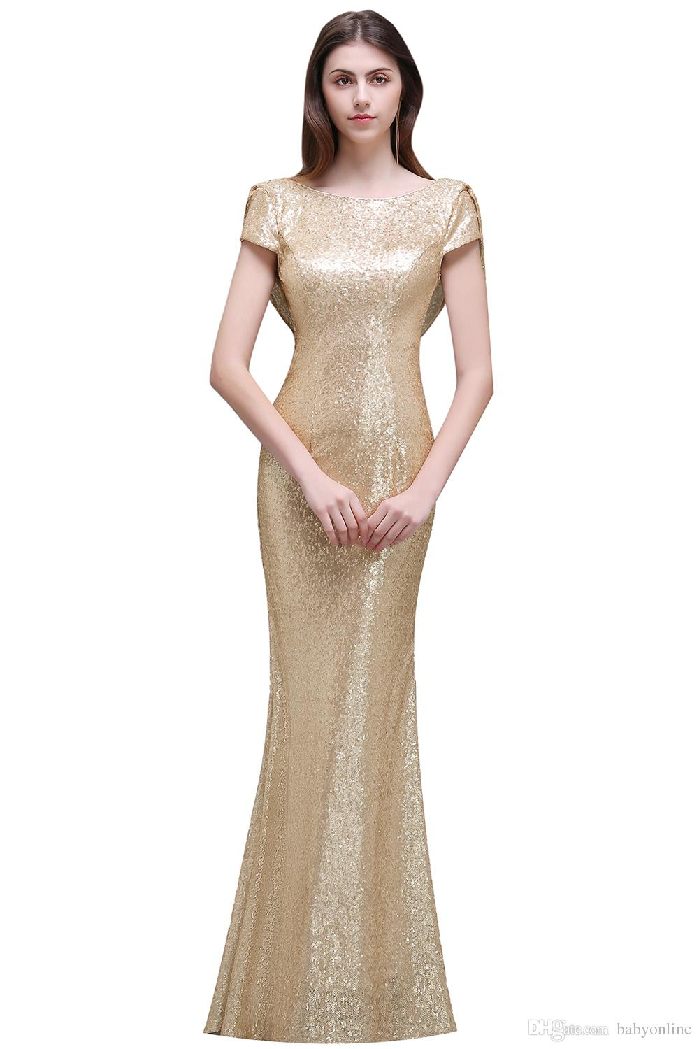 Sparkly Rose Gold Cheap Mermaid Bridesmaid Dresses Short Sleeves Backless Long Beach Sequins Wedding Party Dress Champagne CPS344
