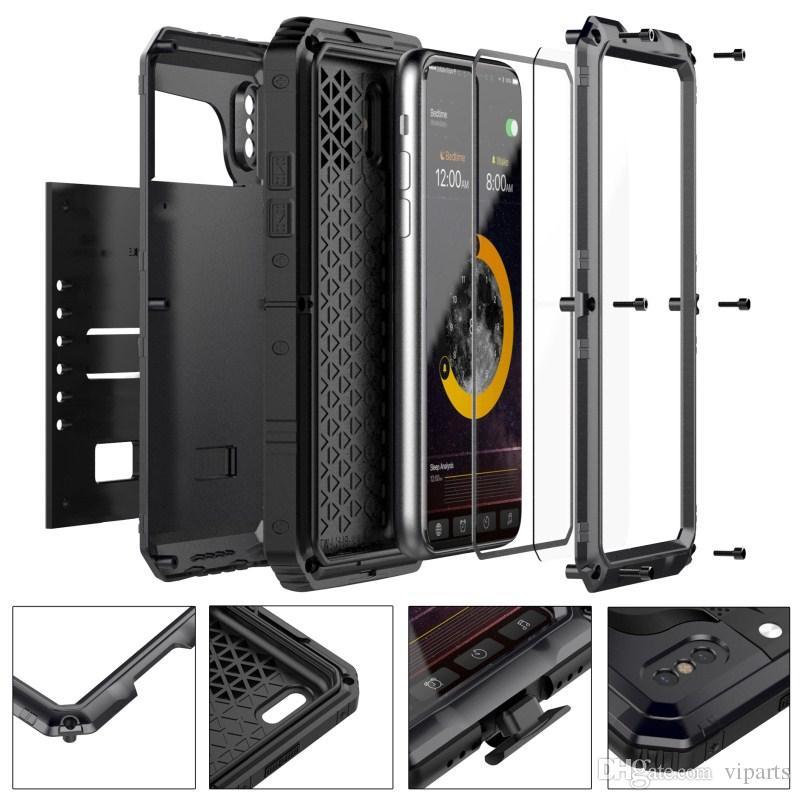 IPhone X 8 7 6 S için Artı Su Geçirmez Kılıf Metal Alüminyum Zırh Yüzme Su Geçirmez Tam Vücut Kapak Mühür IP68 Parmak Izi Telefon Kılıfları