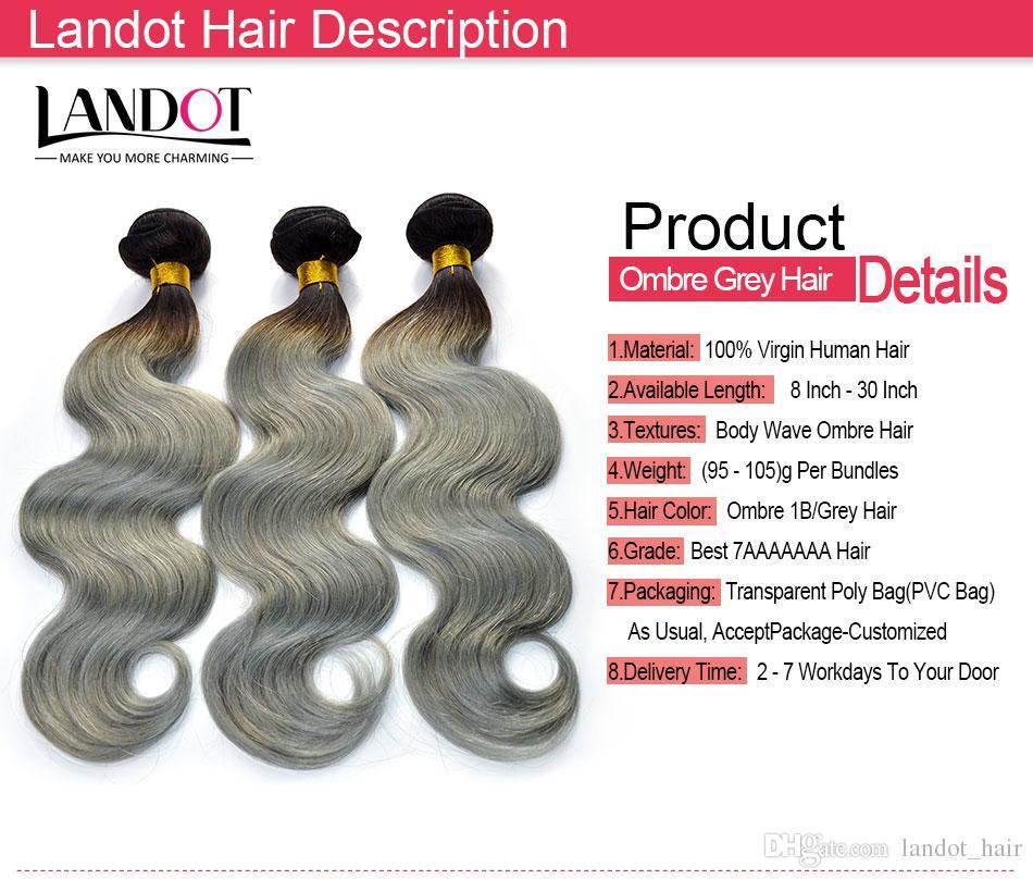 Extensões de cabelo humano brasileiro de cinza de prata Ombre dois tons 1B / cinza peruano pacotes de tecer de cabelo humano de onda do corpo cambojano indiano malaio