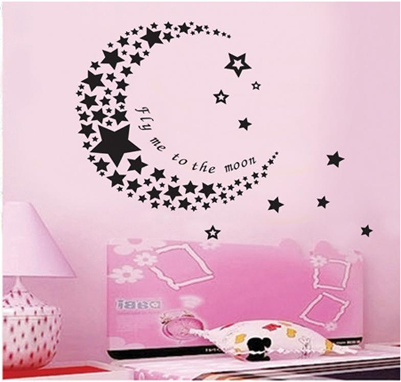 Romantic Black Moon Made Of Stars Wall Stickers PVC DIY For Baby Childrenu0027s  Room Home Decor Wall Decals Wholesale