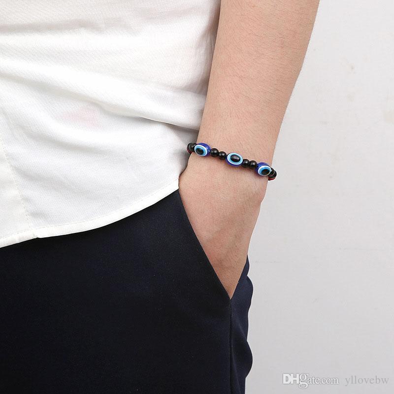 Hot sell New Unisex Vintage Handmade Rope Chain Bangle Blue Evil Eye Beads Elastic Bracelet Jewelry