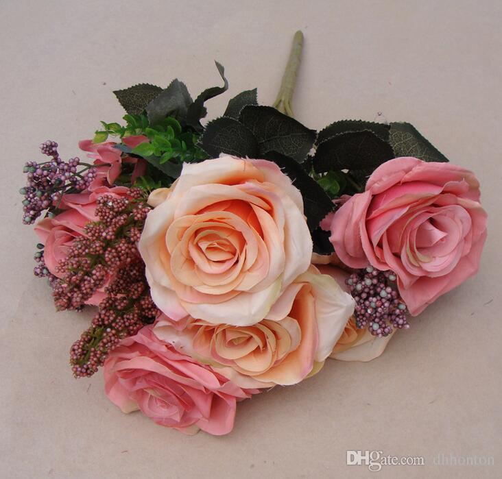 Avrupa Ipek gül çiçek üst sınıf olmayan kirletici Yapay Çiçek Simülasyon Düğün veya Ev Dekoratif Çiçek ücretsiz kargo ER003