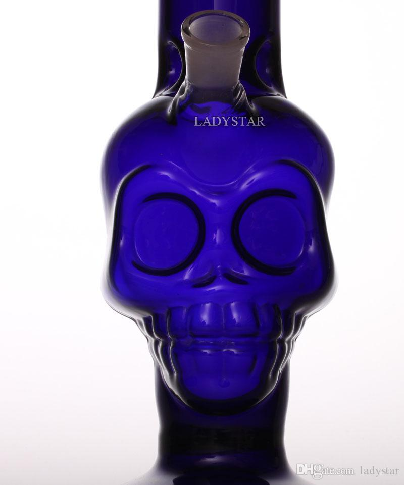 New 2017 Heady Glass Bong blue cool skull Smoking Glass Water Pipes Hookahs Bubbler recycler oil rigs Straight Bong smoking pipes L124A