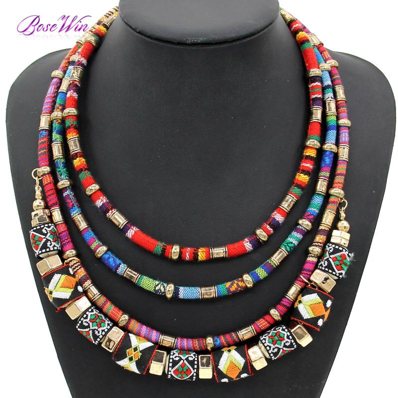 Latest Women Multi Layers Statement Necklace Boho Style Cloth Wrap ...