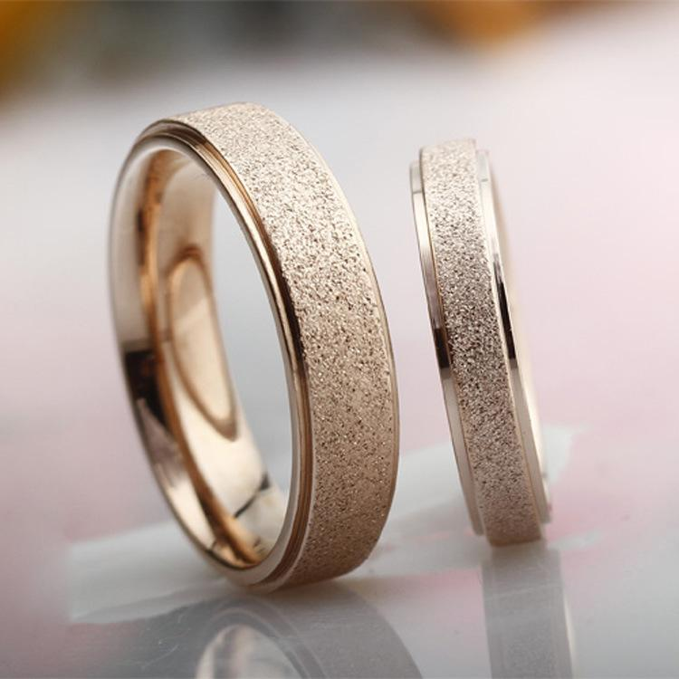 18K Rose Gold Jewelry Titanium Steel Frosted Rings Korean Jewelry
