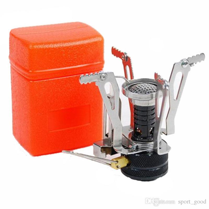 Outdoor Picknick BBQ Brenner Herd Camping Gas Öfen Portable Klapp Mini Brenner Elektronische Zündung mit Box für Verkauf
