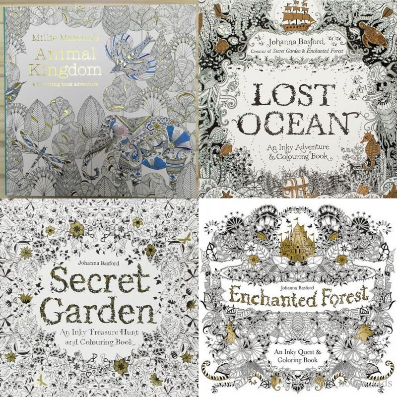 Four Kinds Of Styles Secret Garden Marine Animal Kingdom And Magic Forest Lost Coloring Book Children Adult Relieve Stress Graffiti Painting Christmas