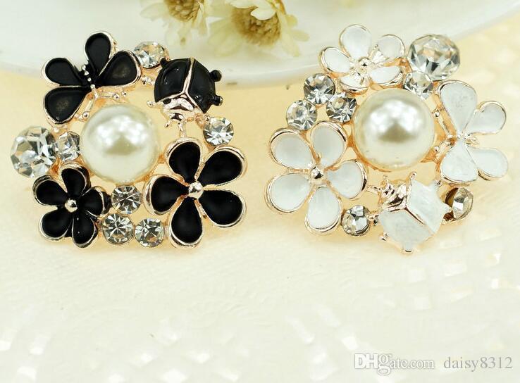 25mm lega strass perla fiore perline pulsante scrapbooking fai da te clip di capelli accessori moda
