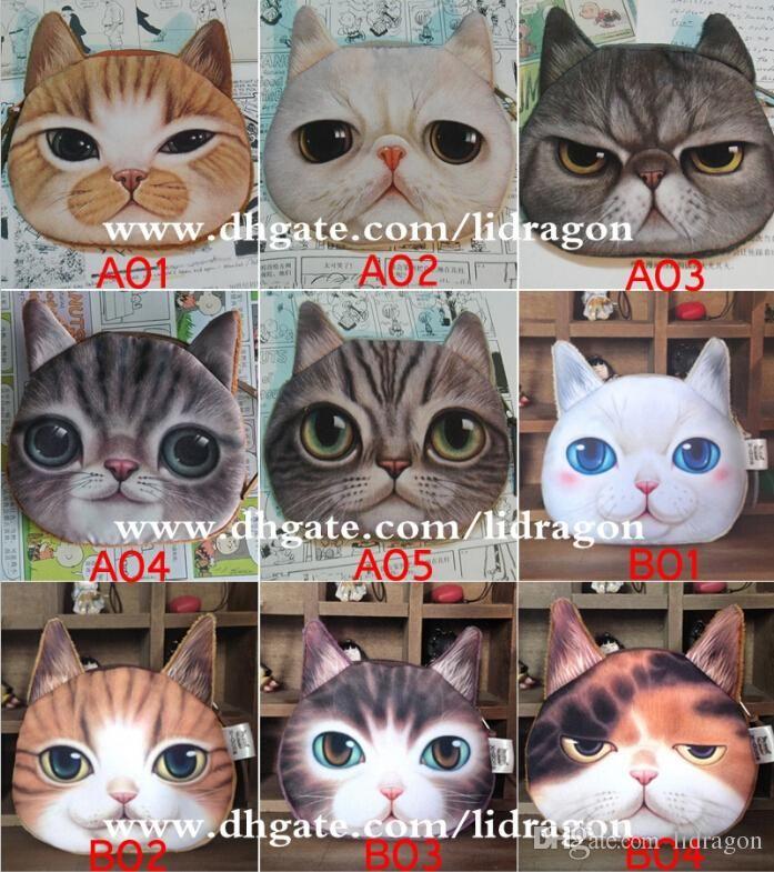 Free Dhl New Cute Catdog Face Zipper Case Coin Purse Wallet Makeup