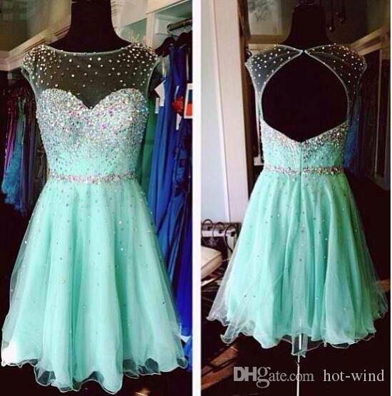 Mint Green Homecoming Dresses 2020 High School Junior Prom Dresses Sheer Neck Cap Sleeves Beaded Crystals Open Back Party Cocktail Dresses