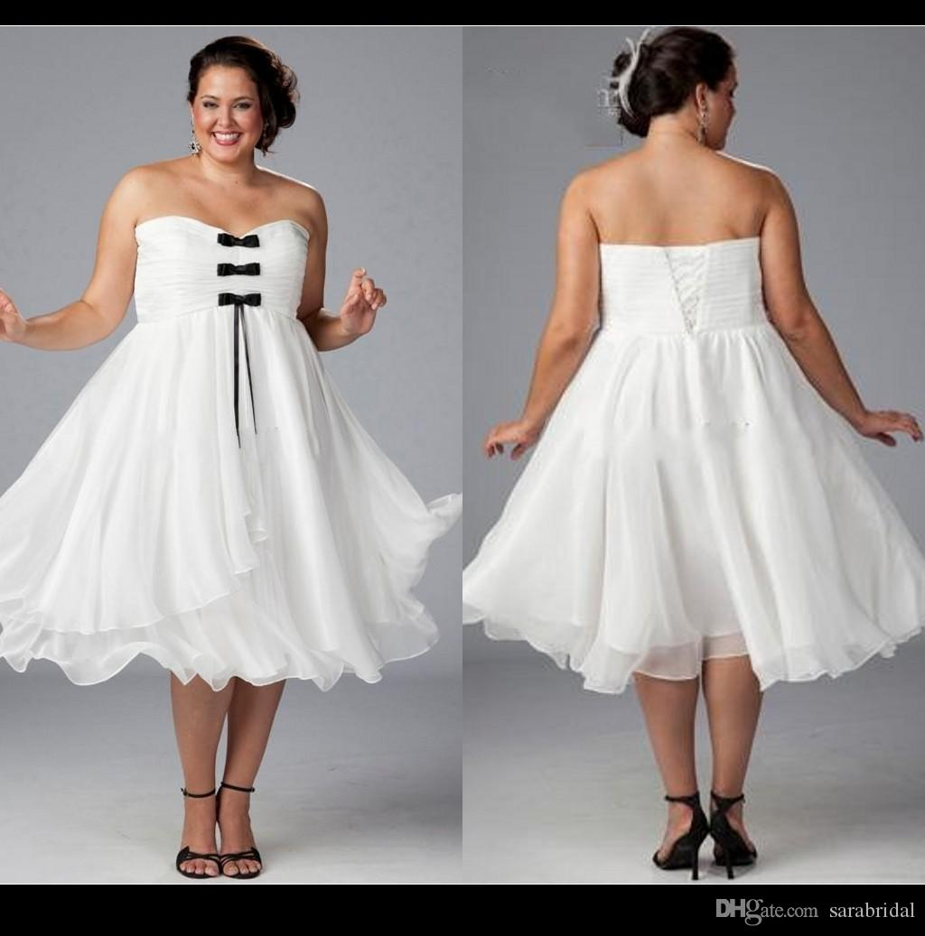 Discount Custom Whit Plus Size Wedding Dresses With Black Bow 2015 ...