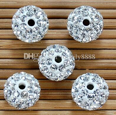 MIC Free Ship 8mm White Clear Crystal Rhinestones Pave Round Disco Ball Spacer Beads Jewelry DIY