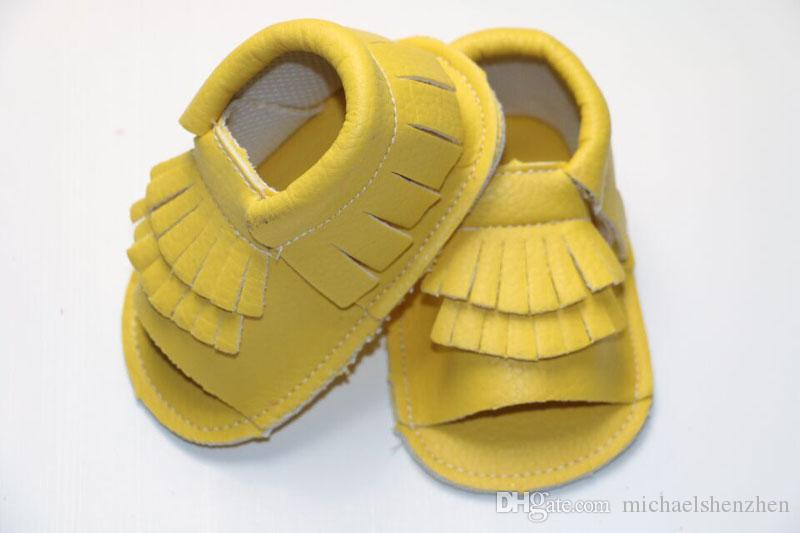 EMS New cow leather Infant open toe mocassions sandals baby tassels boot booties infant suded leather 2layer fringe shoes B001