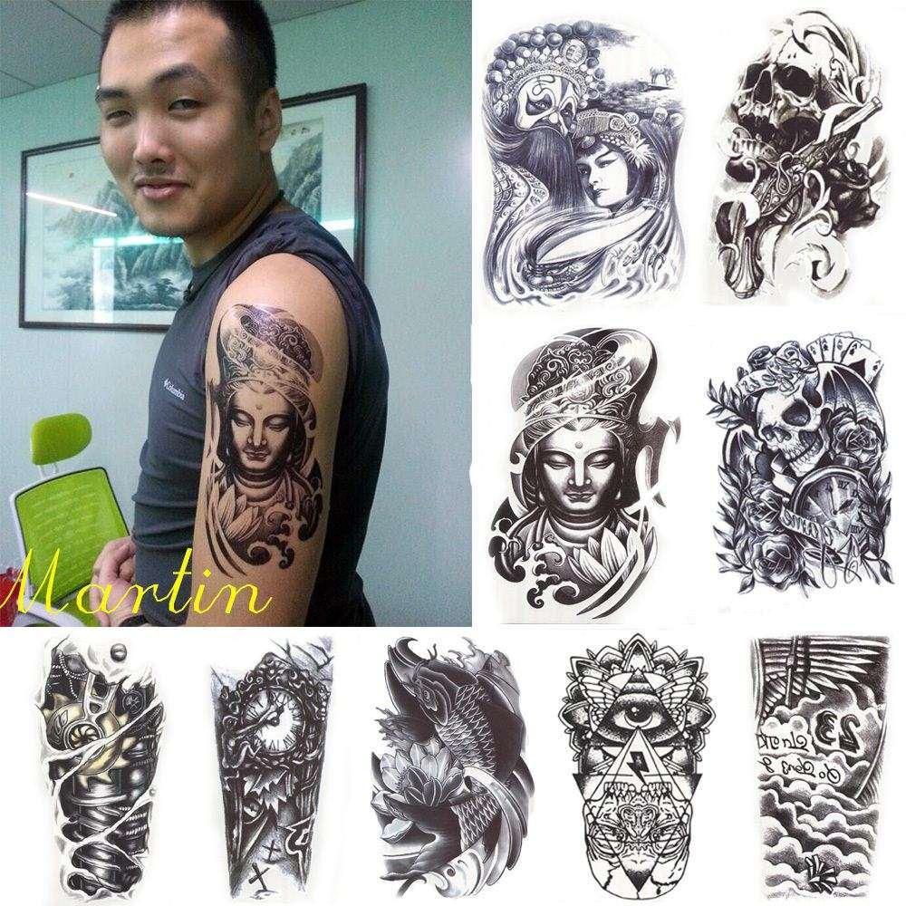Pattern waterproof arm sleeve body shoulder temporary tattoo sticker - 12pcs Lot Black Death Skull Shoulder Tattoos Temporary Tatto Men Temporary Waterproof Man Tattoo Sticker Fake Arm Sleeve Tattoo