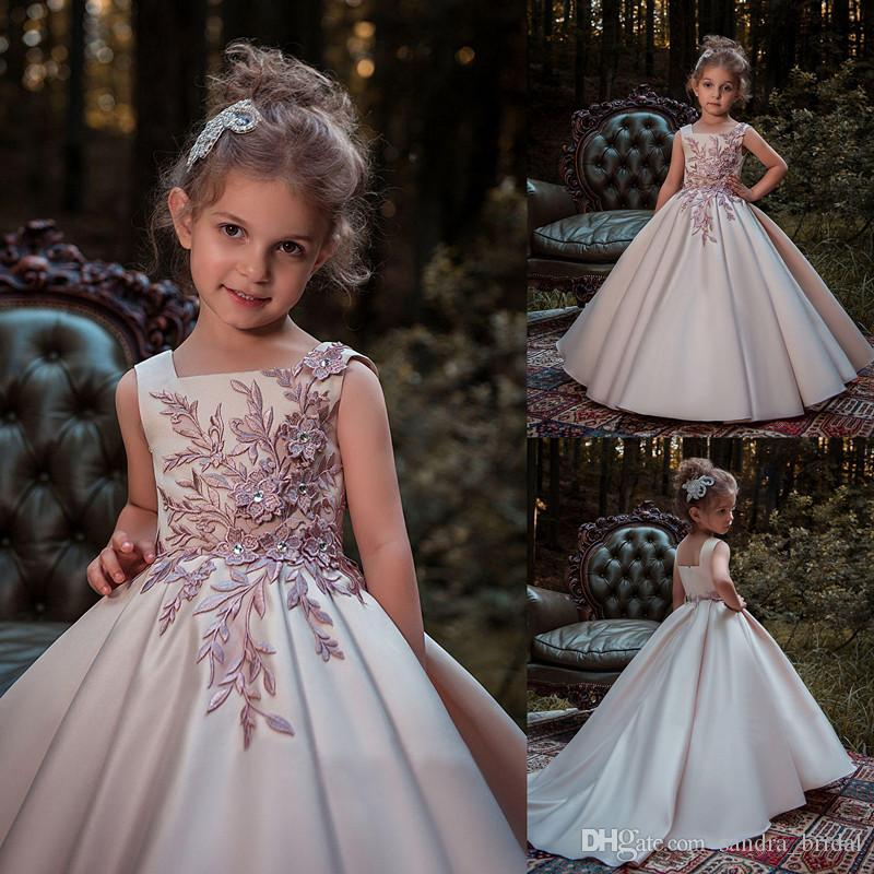 Princess Blush Ball Gown Flower Girl Dresses Embroidery Appliques ...