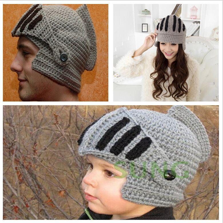 Unisex Knit Roman Knight Helmet Ski Hat Adults Kids Crochet Mask ...