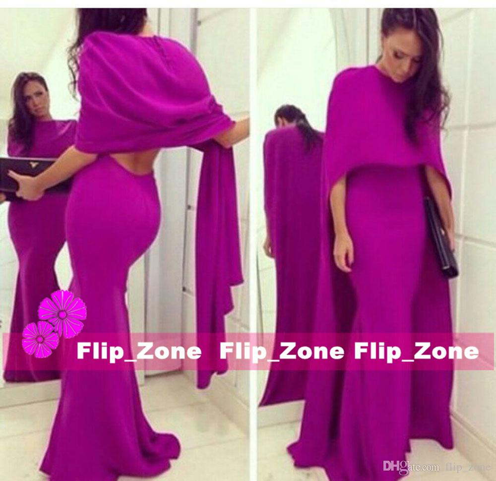 Sexy Backless 2015 Mermaid Purple Evening Dresses Two Pieces Set with Shawls Wraps Floor Length Occasion Gowns Vestidos De Fiesta Largos
